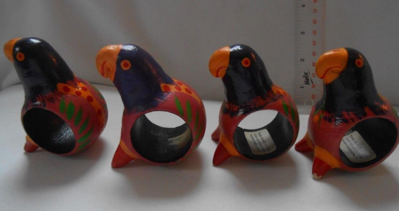 VINTAGE LOT OF 4 WOODEN PARROT NAPKIN HOLDERS COLORFUL HANDPAINTED - VGUC
