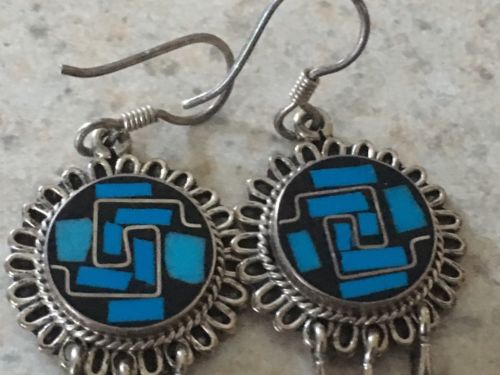 Southwest Sterling Silver With Turquoise Onyx Inlay Dangle Earrings