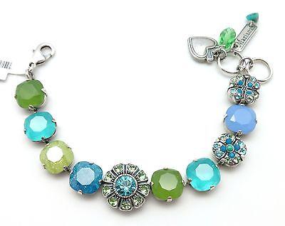 MARIANA Swarovski Silver Plated Caprioska Blue & Green Mixed  Bracelet 1066