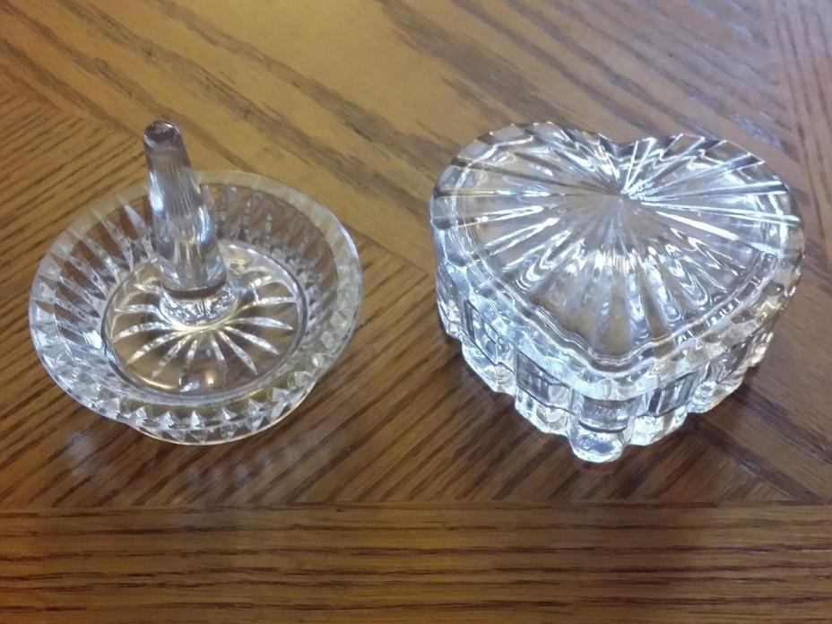 2 pcs Crystal Ring Holder &  Heart Trinket Jewelry Box Vanity