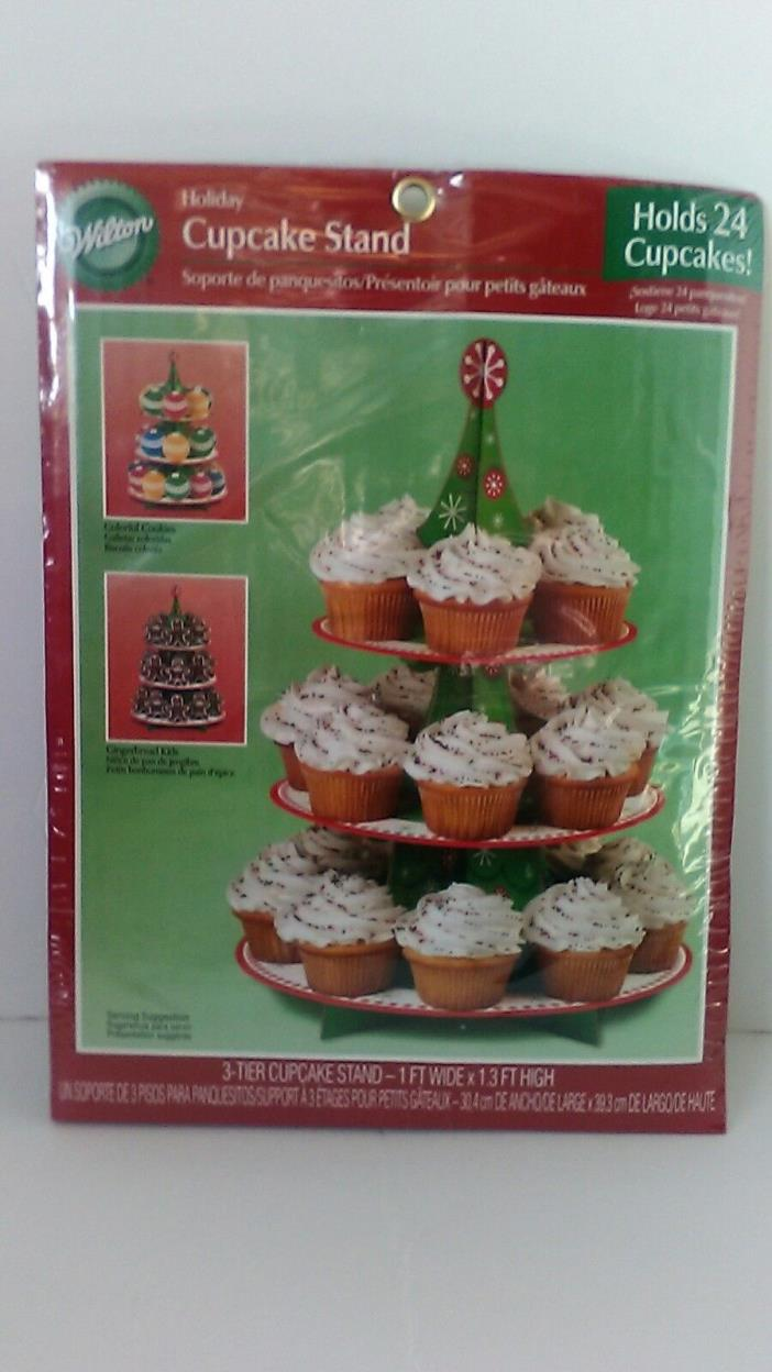 Wilton 3 Three Tier Holiday Cupcake Stand Christmas Tree Holds 24 Cupcakes