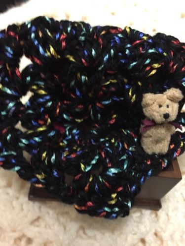 Crochet Dollhouse Blanket Afghan 5 Inches Square OOAK Black and Variegated