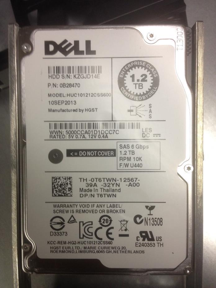1.2TB Dell 10K 6Gb/s SAS 2.5'' HDD w/ PowerEdge Tray HUC101212CSS600 by HGST