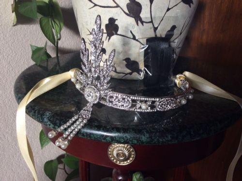 Babeyond Bling Silver Wedding Tiara Pearl Silver Black New