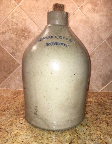 Rare Braman & Gormly Crockery Rochester Antique Stoneware Jug