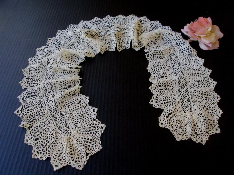 EXQUISITE ANTIQUE HANDMADE BRUSSELS LACE LAPPET/FLOUNCE..COLLAR