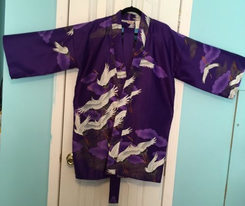 Vintage Marukyo Kimono Size L Kyoto Tokyo Japan Flying Crane Purple 35