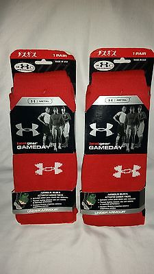 2 PAIRS UNDER ARMOUR HEAT GEAR GAMEDAY SOCKS - SIZE LARGE-SHOE SIZE 9-12.5