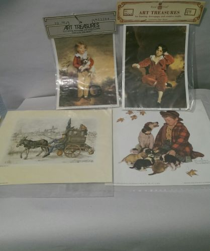 Lot of 4 Decoupage prints sealed Norman Rockwell, Anton Pieck etc. Vintage Italy