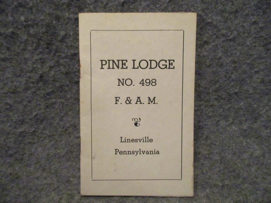 Vintage 1955 Masonic Pine Lodge No. 498 F. & A.M. Linesville PA By Laws Booklet
