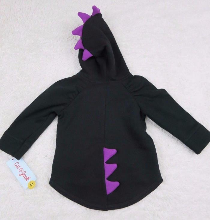 CAT & JACK Black Purple Monster Dinosaur Scales Jacket 12 Months NWT U44/45