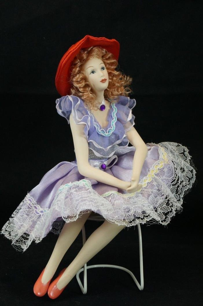 Red Hat Society Porcelain Doll Violet Sun Dress Jointed Limbs Sitting Position