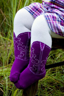 CUTE INFANT/TODDLER COWBOY BOOT TIGHTS, PURPLE BOOTZIES, SIZE 6-18 MOS