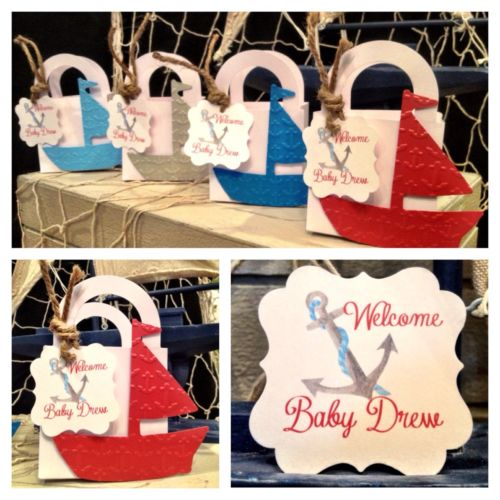 24 Embossed Anchors Nautical Sail Boat Baby shower favor boxes personalized