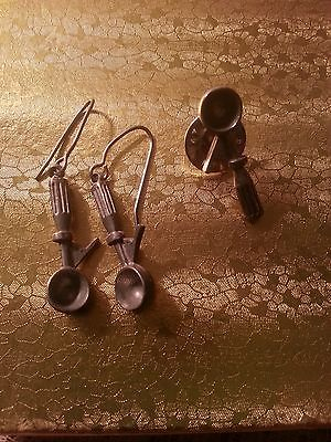 Jim Clift Pewter Ice Cream Scoop Pierced Earrings & Ice cream Scoop Lapel Pin
