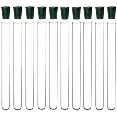10 Pack 20x150mm Pyrex Glass Test Tubes With Rubber Stoppers