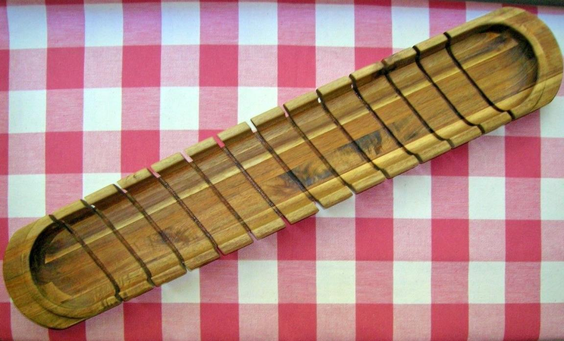 Large Gourmet Wood Baguette Miter French Bread Loaf Slicer Cutting Board 28 Inch