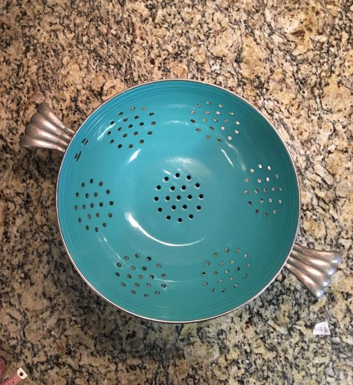 Fiesta Enamelware Turquoise Colander By Homer Laughlin