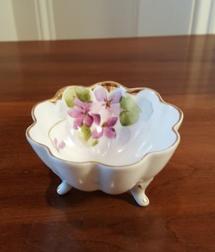 ANTIQUE 1890-1921 SUNRISE MARK NIPPON PORCELAIN OPEN SALT NUT BOWL VIOLETS GOLD