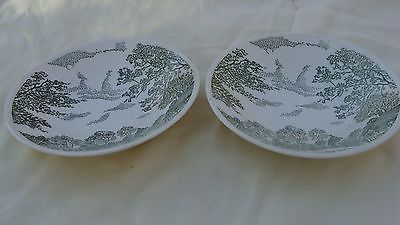 VINTAGE ROUND PORCELAIN BOWLS GREEN FOREST SCENE ON WHITE MADE IN USA