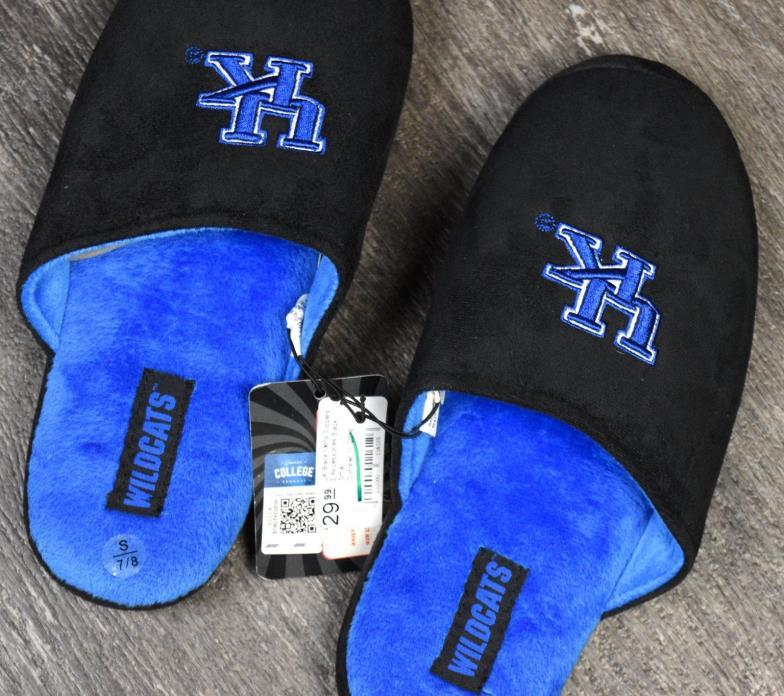 University Kentucky Black House Slippers Big Blue UK Men's Sz 7/8 Plush Shoes