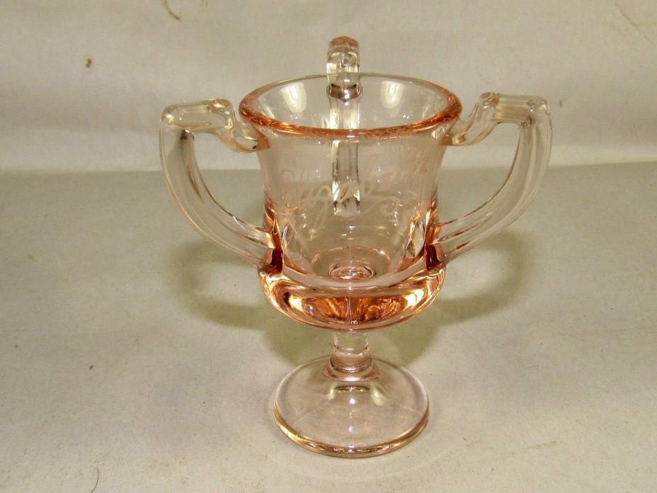 1931 Springfield Fair US Glass EAPG Toothpick Holder Loving Cup 3 Handle Pink