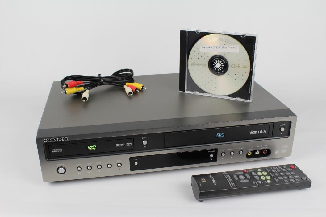 Go Video DVD VCR Combo VHS Player DV2130 with Remote Control and Manual