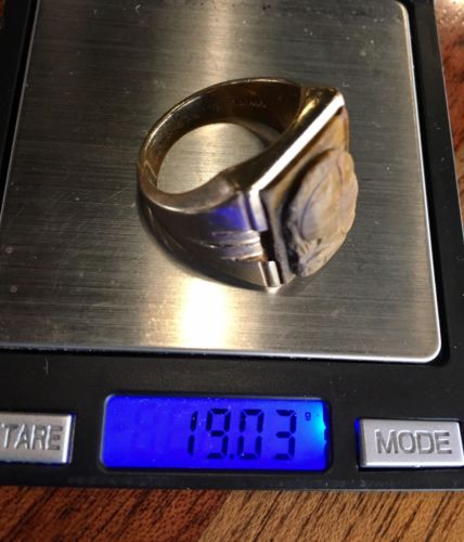 14K GOLD 19.03 GRAMS RING WITH TIGER EYE WEARABLE SIZE 11