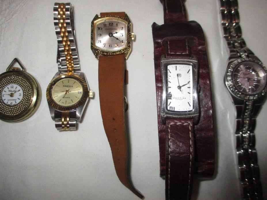 WOMAN'S WATCHES LOT OF 5 KENNETH COLE, RELIC, SWEEDA, CHALET, CUSTOM TIME