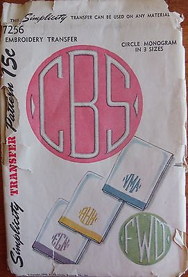 Vintage Simplicity Embroidery Transfer Circle Monogram/3 Sizes 98% Complete