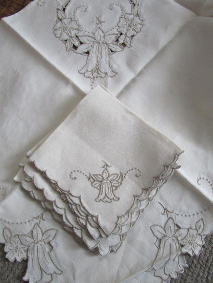 Vtg Linen Cut Out Madeira Tulip Tablecloth & 8 Napkins 41x40
