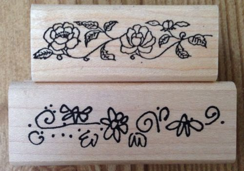 Lot of 2 Flower Border Rubber Stamps Small Imaginations Hampton Art