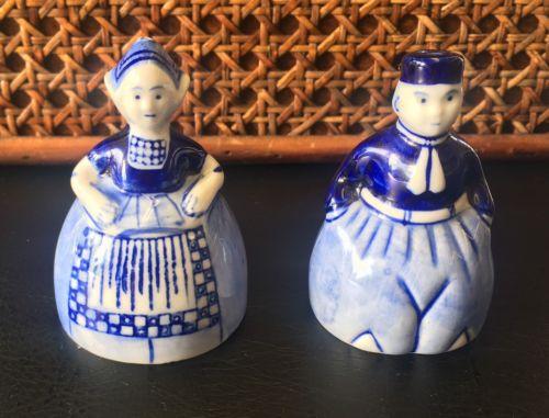 Cute Vintage Delfts Blue Hand Painted Pair Dutch Man and Woman Salt & Pepper Set