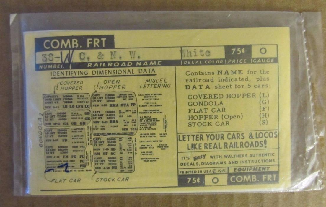 WALTHERS O SCALE DECALS - CHICAGO NORTH WESTERN (C&NW) COMBINATION FREIGHT #38-W