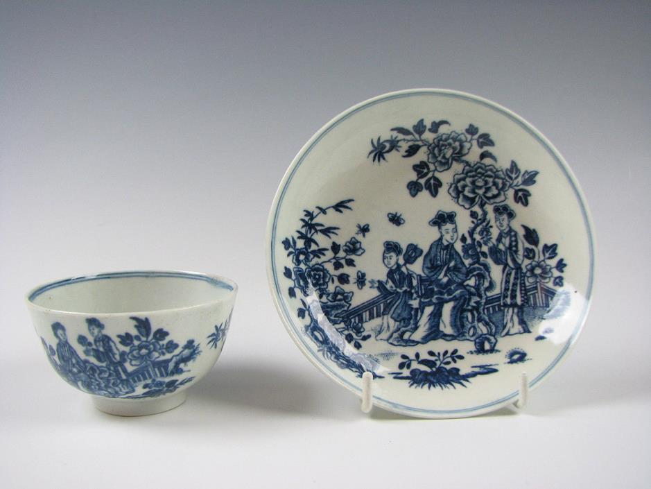 18th Century English Blue & White Porcelain Worcester or Caughley Cup and Saucer