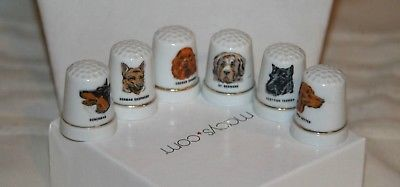 6 Vintage Thimbles Dogs Irish Setter St Bernard Doberman Cocker Spaniel Scottie