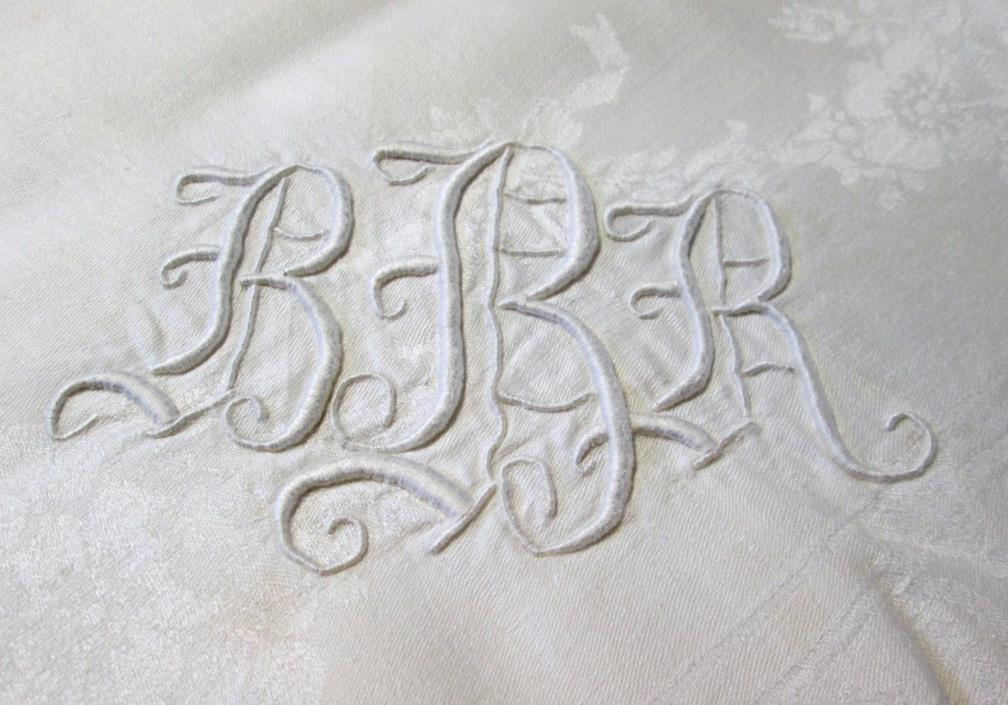 Antique Linen Damask Tablecloth Fabulous B B R Monogram Urns Florals Hand Hemmed