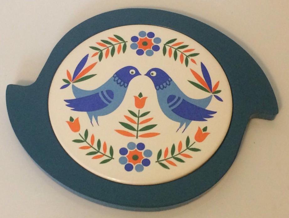 Nevco Tile Trivet, Tile & Plastic, 2 Blue Birds, Made in Japan, Vintage, Retro