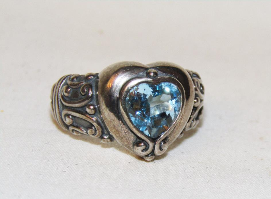 Designer Estate ~1.5 ct Blue Heart Natural Topaz 925 Sterling Silver Ring Sz 8