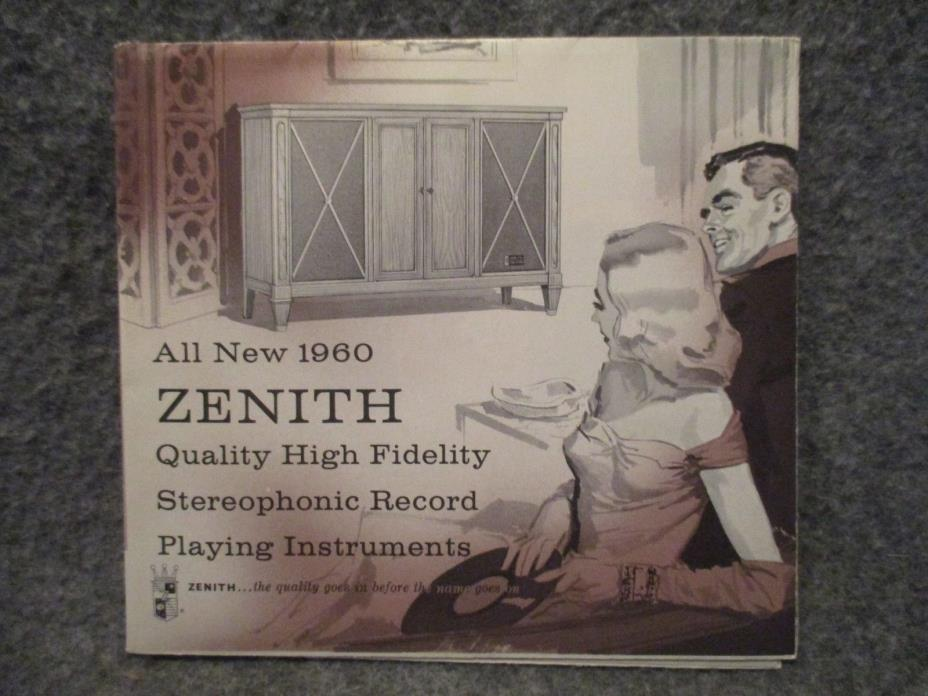 1960 Zenith Vintage High-Fi Record Playing Advertising Brochure Folded Booklet