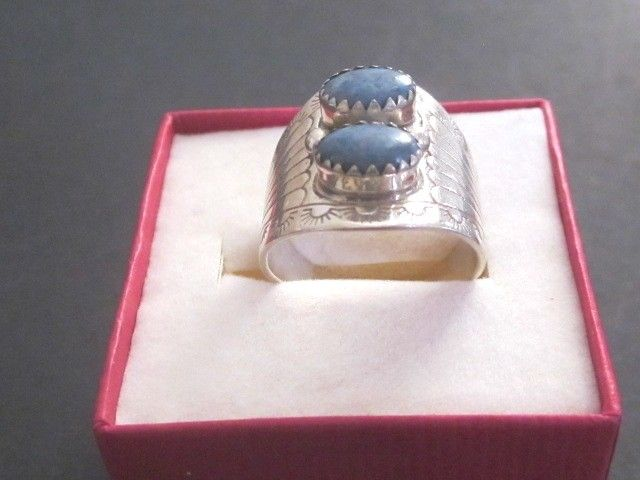 Vintage Signed CG? Sterling Silver & Blue Stones Sz. 8  Ring