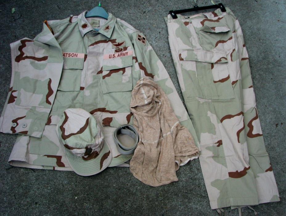 Army  desert uniform Lot of 5 items Army Major, pilot, 4th Inf        (LOC = E4)
