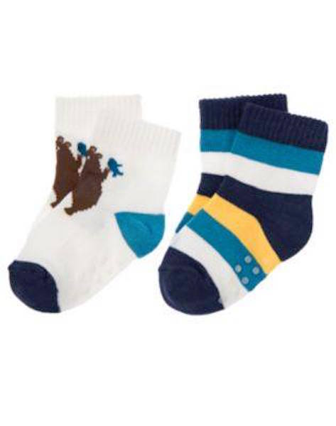 Nwt Gymboree Bear Hugs 2 Pack Bear and Striped Socks Size0-3 Months