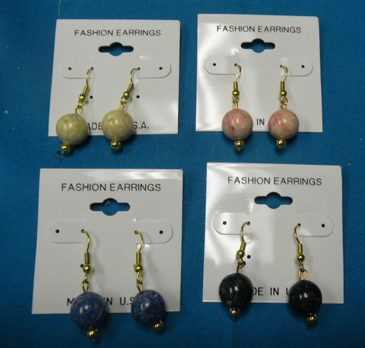 WHOLESALE CLEARANCE-30 PR NATURAL STONE 10MM BEAD WIRE EARRINGS-USA-NEW