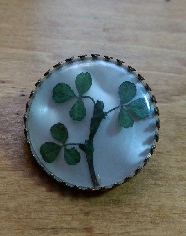 vintage lucky clover brooch Irish hat pin
