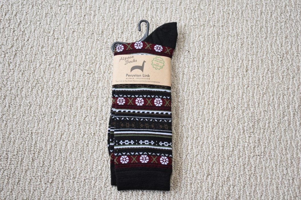 New Alpaca Crew Socks Brown Puruvian Made L-XL Mens Womens