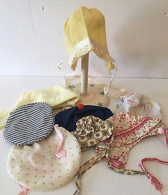 Vintage Lot Of 8 Eight Doll Bonnets Hats Berets Etc