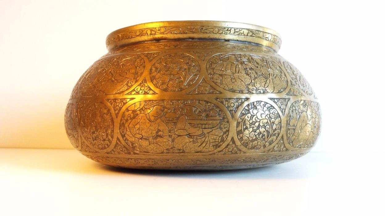 Antique Persian Mameluke Revival Hand Etched Brass Water Bowl