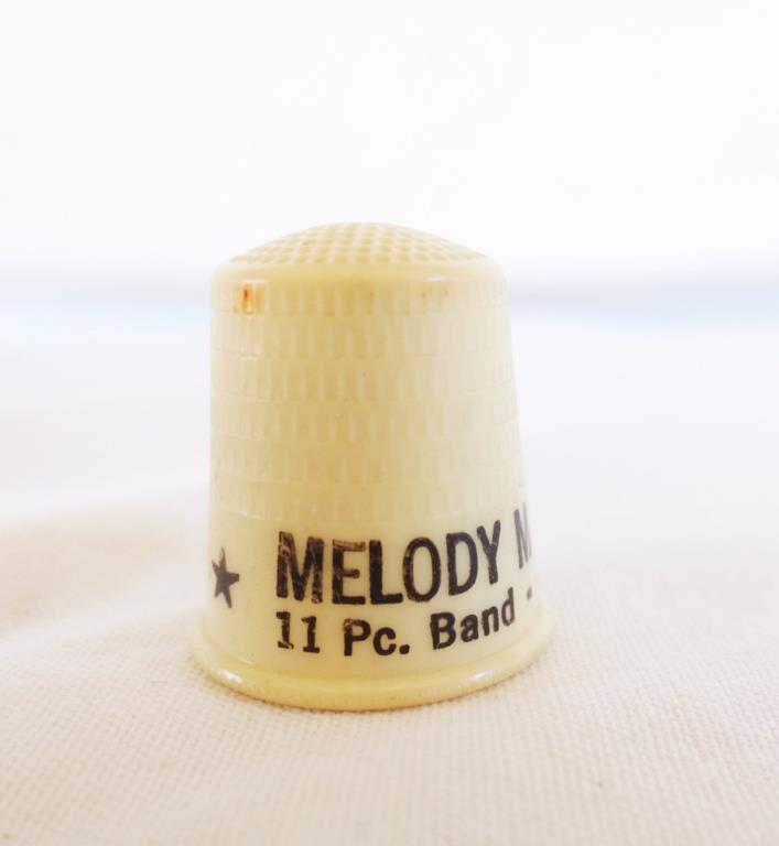 Thimble - Vintage Melody Manor  Fairmont W. VA - Plastic  - 11 pc band Sat Nites