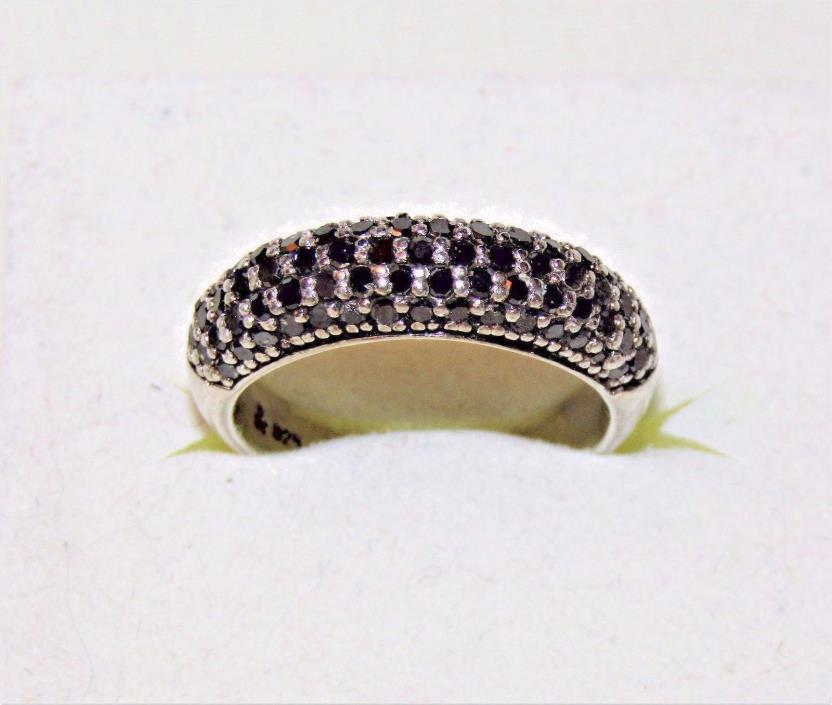 Designer Estate 5 Rows Natural Black DIAMONDS  925 Sterling Band Ring 7.25